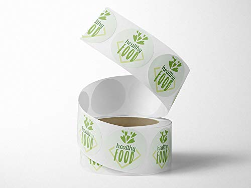 Oedim Roll of 250 Bio Healthy Food Labels | 4 cm Diameter | Made of White Polypropylene Adhesive |
