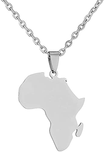 Collar Mujer Collar Hombre Colgante Hiphop Estilo étnico Símbolos de África Collares Pendientes Acero inoxidable Color dorado Para mujeres Hombres Mapas africanos Joyería RegaloCollar de regalo para n