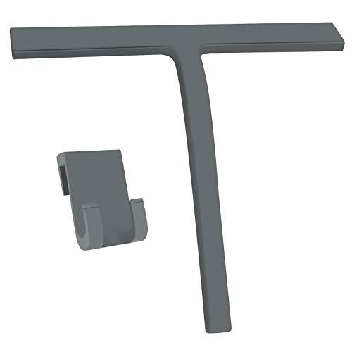 Lunriwis Duschschaber Silikon ohne Bohren Duschwischer schwarz Abnehmbarer Glaswischer, Edelstahlkern-Badzubehör, für Küchenfenster und Autoglas sauber Duschraum