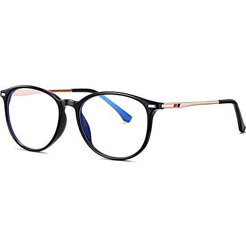 Joopin Gafas Luz Azul Mujer y Hombre para Ordenador Lentes Antireflejantes con Filtro de Luz Azul sin Graduación Montura de Metal Bloqueo de Luz Azul Negro