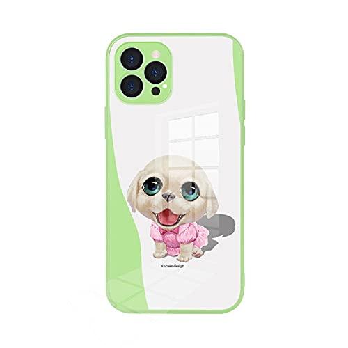 Adecuado para Apple iPhone12 Funda de cristal para teléfono Pro Max todo incluido lindo animal doméstico-matcha verde_iPhone 12
