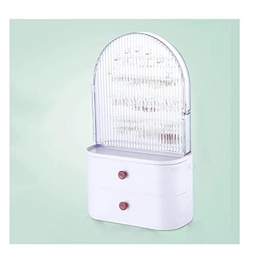 HUYHUJ Caja de joyería Plástico Pendientes de Gran Capacidad Anillo Caja de Almacenamiento Dormitorio Organizador de cosméticos de Escritorio a Prueba de Polvo (Color : White)