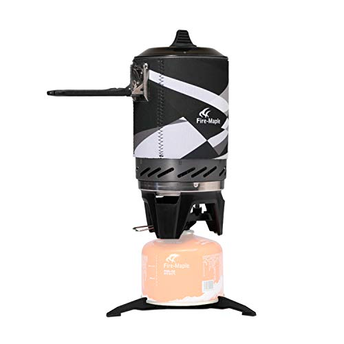 """Fire-Maple """"Fixed-Star 2"""" Personal Cooking System Stove w/Electric Ignition, Pot Support & Propane/Butane Canister Stand (Black)"""