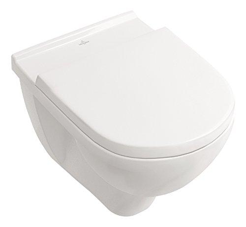 Villeroy & Boch Spülrandloses Wand-WC O.Novo mit WC-Sitz, 5660HR01, Tiefspüler spülrandlos mit waagerechtem Abgang, Combi-Pack, Absenkautomatik, Keramik, Weiß, 04790 6