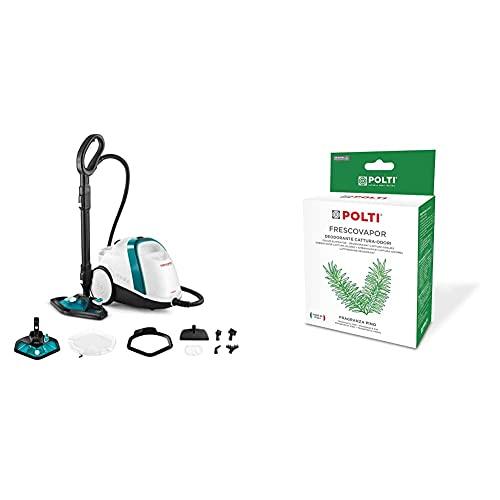 Polti Vaporetto Smart 100_T Limpiador a vapor, autonomía ilimitada con carga continua, 9 accesorios + Polti Frescovapor Desodorante para ambientes y captura olores, 2 frascos de 200 ml, plástico