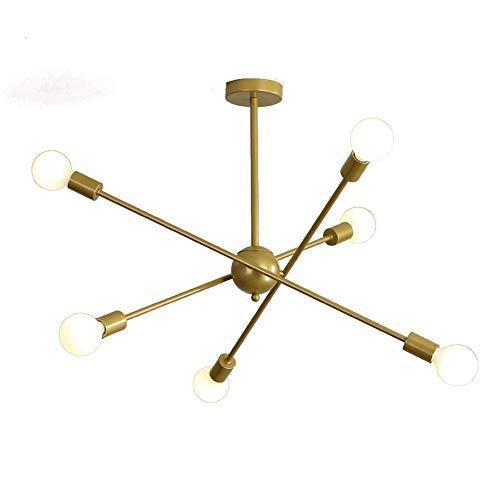 HLY Candelabro simple, lámpara colgante, lámpara de techo, luz de techo, moderno, 6 s, Sputnik, mediados de siglo, accesorio de ing, accesorio de hierro industrial, para cocina, comedor, sala de esta