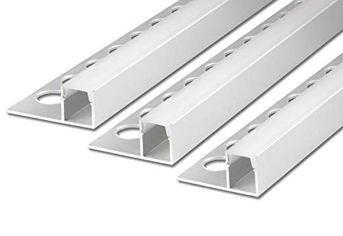 3 x 2 m FUCHS La pista de baldosas de LED cuadrados brilla por encima Tira de LED para tiras de LED, aluminio anodizado plata acero inoxidable incl. cubierta (blanco lechoso)