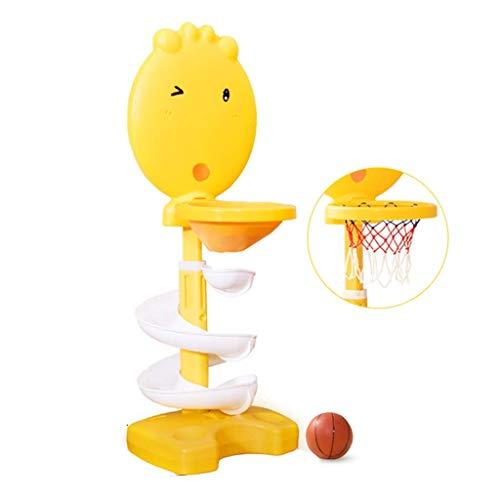 XIUYU Fitness Basketballkorb Abhebbarer Pitching Rack-Kinder Innen Zuhause Basketballkorb kleine Kugel auslaufsicher Slide Stable Basketballkorb (Color : Yellow, Size : 36 * 30 * 116cm)