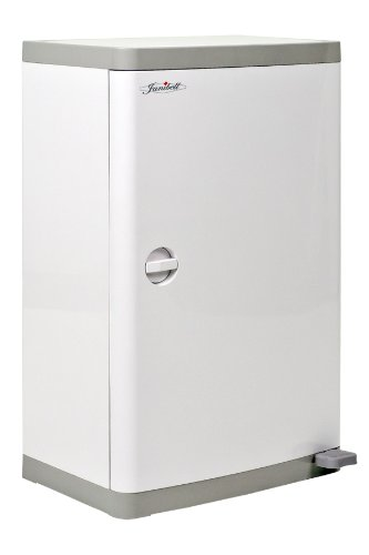 """Janibell M400DS ABS 13-Gallon Commercial Diaper Disposal System with Extra Odor Control, Foot Pedal, Rectangular, 15-3/4"""" Width x 11-69/100"""" Depth x 25-1/5"""" Height, White / Gray"""