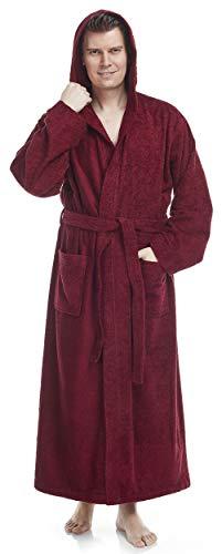 Arus Bademantel-Pacific für Herren mit Kapuze, 100% Baumwolle, Größe: XXL, Farbe: Bordeaux