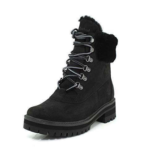Timberland Women's Courmayeur Valley WP 6in with Shearling, Black Nubuck, 8 M US