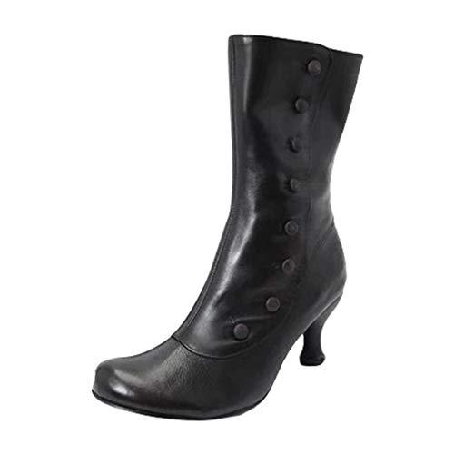 Yying Damen Mittel Stiefel Vintage PU-Lederstiefel Mode Nieten Nähte Farbe Martin Stiefel Spitz Zeh Louis-Xv Absatz Motorradstiefel Reißverschluss Wadenlange Stiefel