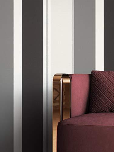 NEWROOM Tapete Schwarz Vliestapete Streifen - Streifentapete Modern Grau Weiß Linien Muster Mustertapete Edel inkl. Tapezier-Ratgeber