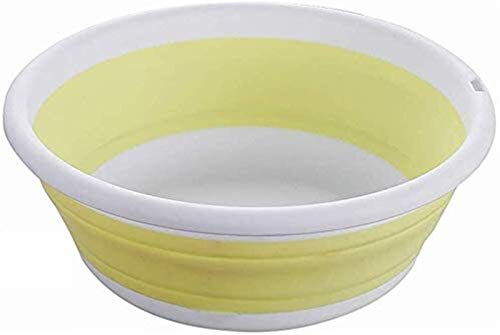 Folding bucket Outdoor product Multi-function Collapsible Washing Up Bowl Folding Portable Round Wash Basin For Outdoor Camping Hiking Folding water bag (Color : Yellow, Size : Large)