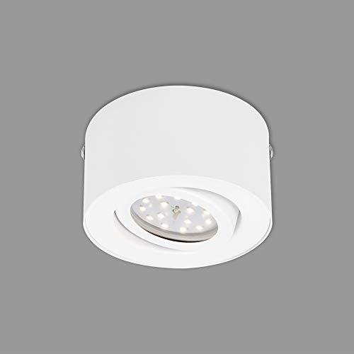 Briloner Leuchten LED Aufbauleuchte, Deckenlampe 5 W, Reflektor schwenkbar, 470 Lumen, 3.000 Kelvin, Weiß, Ø 9cm