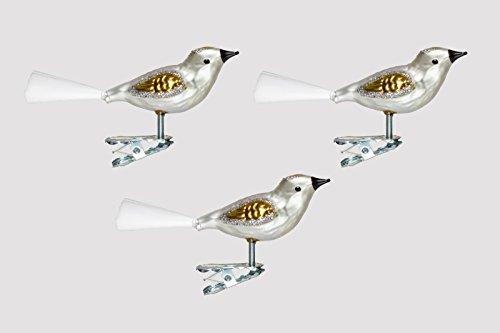 Christbaumschmuck Glas Vogel Set 3 Stück Silber/Gold H mundgelasen Lauscha