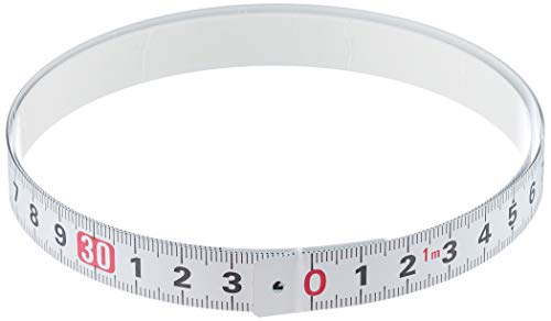 Tajima Bandmaß PIT Measure (1 m, selbstklebende Rückseite zur Befestigung auf Oberflächen, für Werkbänke, Breite 13 mm, Farbe Weiß, Japanstahl, korrosionsbeständig) PIT10