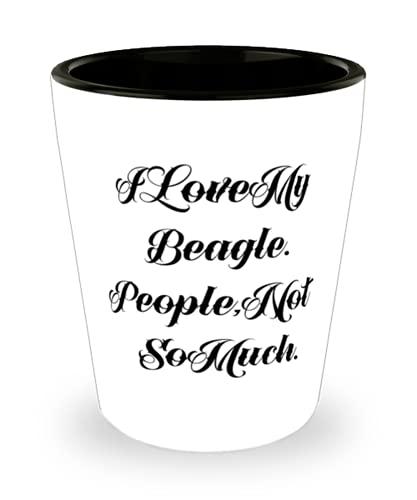 Fun Beagle - Vaso de chupito para perro, diseño con texto en inglés 'I Love My Beagle'