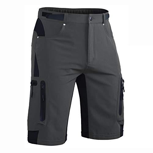 Hiauspor Mens-Outdoor-Hiking-Shorts MTB Mountain Bike Short Quick Dry Lightweight Cargo Pants with Zipper Pockets (Grey, M)