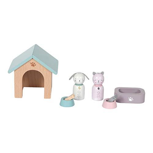 Tiamo Little Dutch 4475 Holz Puppenhaus Zusatz Spielset Haustiere Hund und Katze 8-teilig