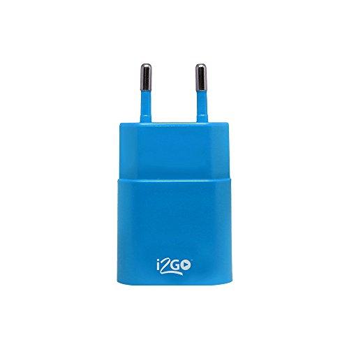 Tomada USB, i2GO, Entrada de 120-240V DC Saída 5V 1amp, Azul