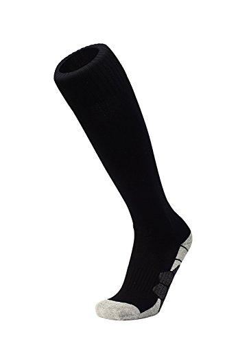 DEBAIJIA Unisex Fußballsocken Sportsocken Knie Lang Herren/Damen, Jungen/Mädchen Atmungsaktiv Verschleißfest Fußball Strümpfe Stutzen Socken Schwarz - L