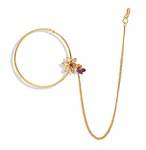Desire Collection Nath Traditional Nathiya for Women Latest Design Nose ring without Piercing Gold Plated Nath Clip On Nose Ring For Women (White)