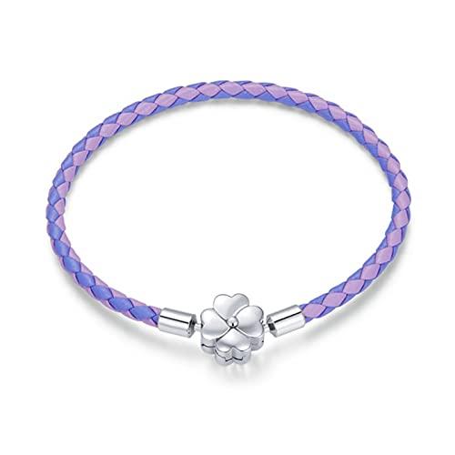 TTGE 925 Sterling Silver Lucky Bracelet Purple Two Color Leather Bracelet Clover European for Women DIY Fine Jewelry