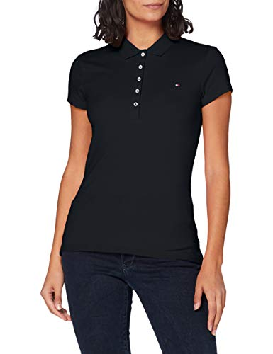 Tommy Hilfiger Damen Heritage Short Sleeve Slim Polo Poloshirt, Blau (Midnight 403), 44 (XXL)