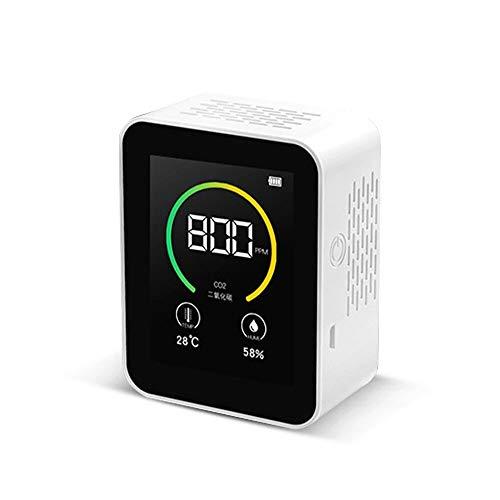 BouBou Detector de dióxido de Carbono Monitor de Calidad del Aire Interior Detector de CO2 en Tiempo Real Pantalla a Color Tft Probador Inteligente del Sensor de Calidad del Aire - Blanco