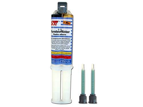 STC 2K PUR Kunststoffkleber kfz 5 Min. Doppelspritze 25 g inkl. 2 Mischerspitzen Industriekleber 1:1 schwarz Kunststoffreparatur