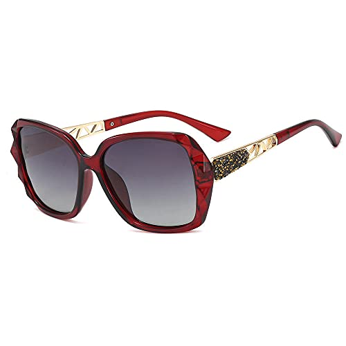XDOUBAO Gafas Gafas de sol polarizadas para hombres y mujeres montando gafas de dos colores gafas de sol-Vino rojo/gris