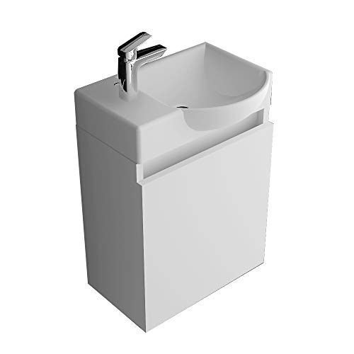 Alpenberger Badmöbelset Komplett Vormontiert 45 x 32 cm   Handwaschbecken aus Keramik mit Überlauf   Unterschrank mit Soft-Close Funktion   Platzsparende Gäste-WC Lösung   inkl. Montagset