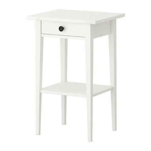 IKEA HEMNES–Mesa auxiliar con cajón, color blanco barnizado