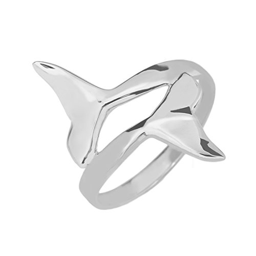 Modern Contemporary Rings Double Dolphin Whale Tail Wrap Ring in Fine 925 Sterling Silver (Size 4.5)