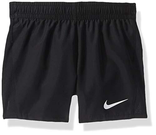 Girl's Nike Dry Running Shorts, Girl's Nike Shorts with Sweat-Wicking Fabric, Black/Black/Black/White, L