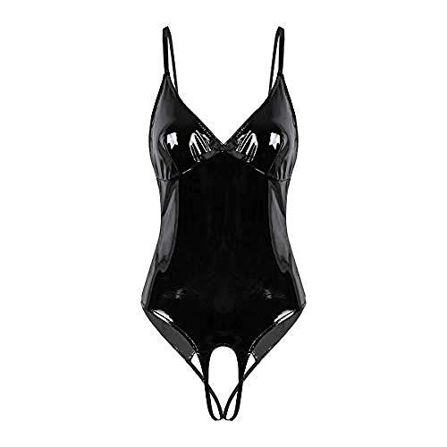 Pijamas para Mujer Pijama Sexy Correas De Espagueti Metálicas Brillantes para Mujer Camisolas Tangas Leotardo Punk Body Clubwear-L_Negro