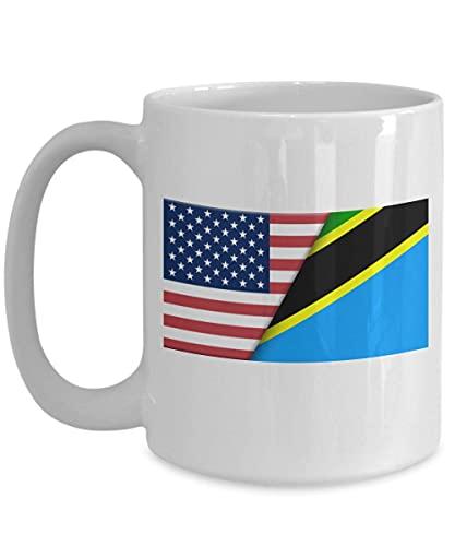 Weiße Kaffeetasse mit USA-Tansania-Flagge