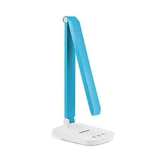 JKUNYU Lámparas de mesa, personalidad simple Protección de los ojos lámpara de escritorio, lámpara de estudio, Lámpara de lectura, Led compartida niños táctil regulable plegable azul, USB luz de la no