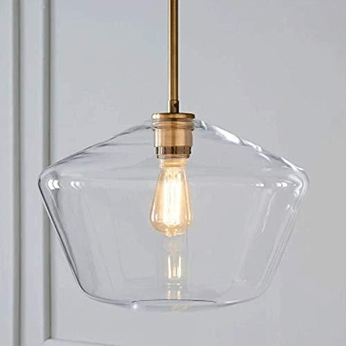 Lighting industrial transparente vidrio colgante de accesorios de luz, barra de loft que cuelga luces de techo araña para la cocina isla sala de estar comedor espejo frontal [Clase de energía A ++]