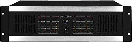 MONACOR STA-1508 Mehrkanal PA-Verstärker mit integriertem Limiter, 8-Kanal PA-Amplifier mit einer Leistung von 1800 Watt in Schwarz