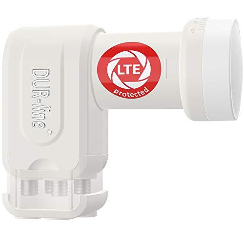 DUR-line +Ultra Quattro LNB - nur für Multischalter weiß - mit LTE-Filter [ Test SEHR GUT *] digital mit Wetterschutz, Full HD, 4K,Premium-Qualität