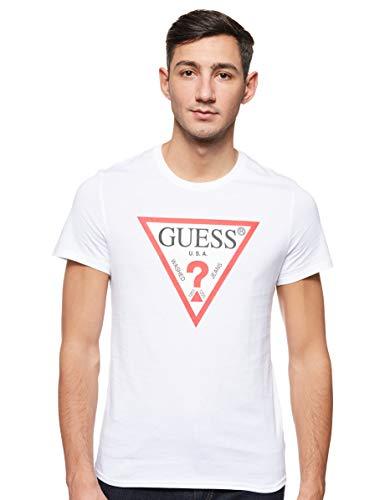 Guess Cn SS Original Logo Camiseta, Bianco, L para Hombre
