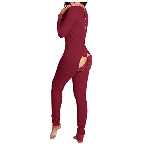 FABIURT Womens Pajamas Onesie Butt Flap Women's Onesie Pajamas with Back Functional Buttoned Flap, One Piece Long Sleeve Bodysuit Rompers Jumpsuit Sleepwear Wine