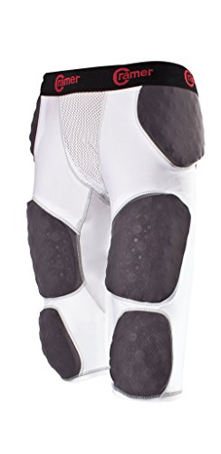 Cramer Lightning 7 Pad Football Girdle With Integrated Hip, Tailbone and Thigh Pads, Anti-Bacterial and Moisture-Wicking Fabric, Great Protection Without Impeding Athletic Performance, White, Large