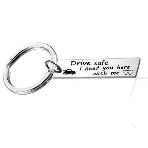 Anyeda Schlüsselanhänger Unisex Edelstahl Lange Platte Gravur Drive Safe I Need You Here with Me. Schlüsselanhänger Paare Puzzle Silber Style B 4.5X1Cm