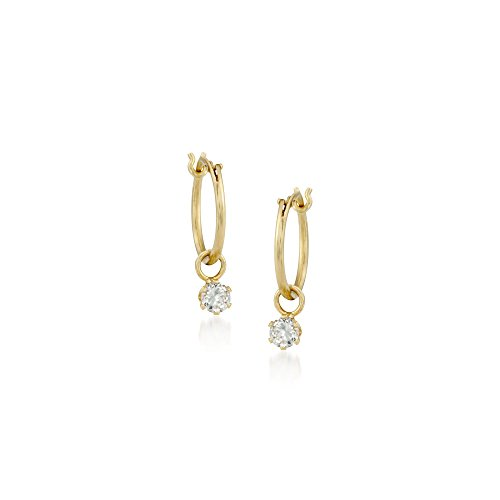 Ross-Simons Child's .20 ct. t.w. CZ Hoop Earrings in 14kt Yellow Gold