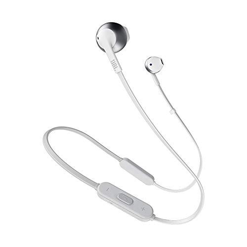 JBL Tune 205BT Cuffie Wireless, Auricolari Bluetooth senza Fili, con Microfono e Telecomando a 3 Pulsanti, per Musica, Chiamate e Sport, fino a 6 h di Autonomia, Argento