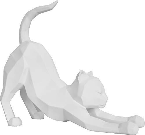 Present Time - Statue Chat Stretching Blanc Origami