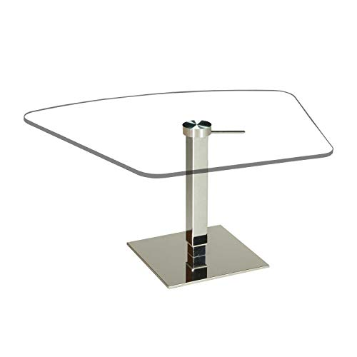 tischdesign24 Taipei41-A *Direkt ab Werk* Couchtisch mit komnfortabler Lift-Höhenverstellung 46-75cm. Liftsäule und Bodenplatte in Chrom Hochglanz. Tischplatte Klarglas Abmessung: 90 x 60 cm trapez